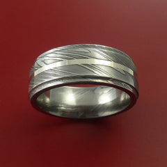 Damascus Steel 14K White Gold Ring Wedding Band Custom Made by Stonebrook Jewelry