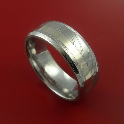 Damascus Steel 14K White Gold Ring Hand Crafted Wedding Band