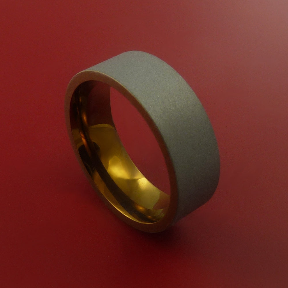 Titanium and Bronze Band Custom Made Ring to Any Sizing and Finish 3-22 by Stonebrook Jewelry