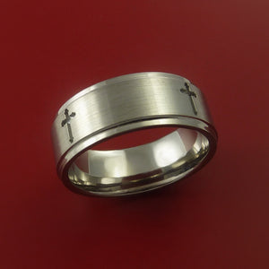 Titanium Ring with Milled Cross Inlay Custom Made Band