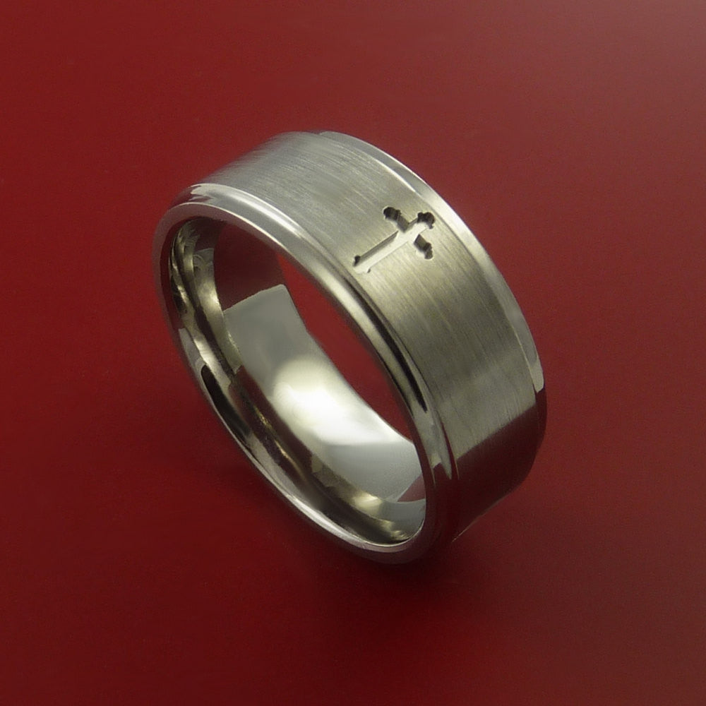 Titanium Christian Wedding Band Cross Ring Made to Any Sizing and Finish 3-22 by Stonebrook Jewelry