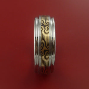 Titanium and 18K GOLD Mokume Ring Custom Made to Any Size 3 to 22