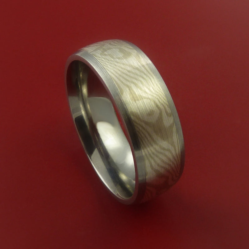 Titanium Ring with Mokume Gane Inlay Custom Made Band
