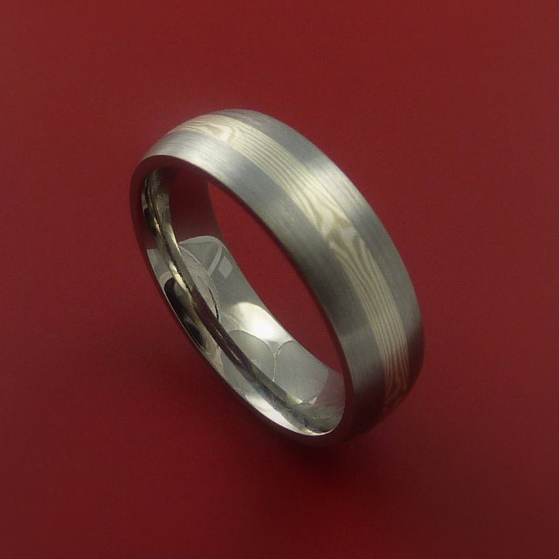 Titanium Ring with Palladium and Sterling Silver Mokume Gane Inlay Custom Made Band