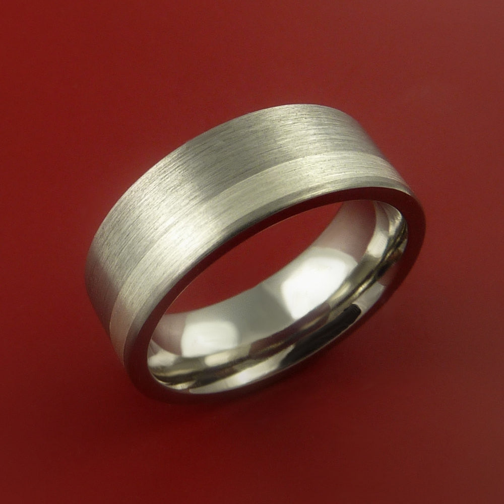 Titanium Ring Classic Silver Off Center Inlay Wedding Band Any Size and Finish 3-22 - Stonebrook Jewelry  - 4