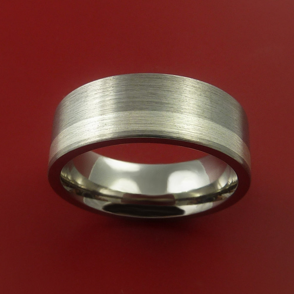 Titanium Ring Classic Silver Off Center Inlay Wedding Band Any Size and Finish 3-22 - Stonebrook Jewelry  - 2