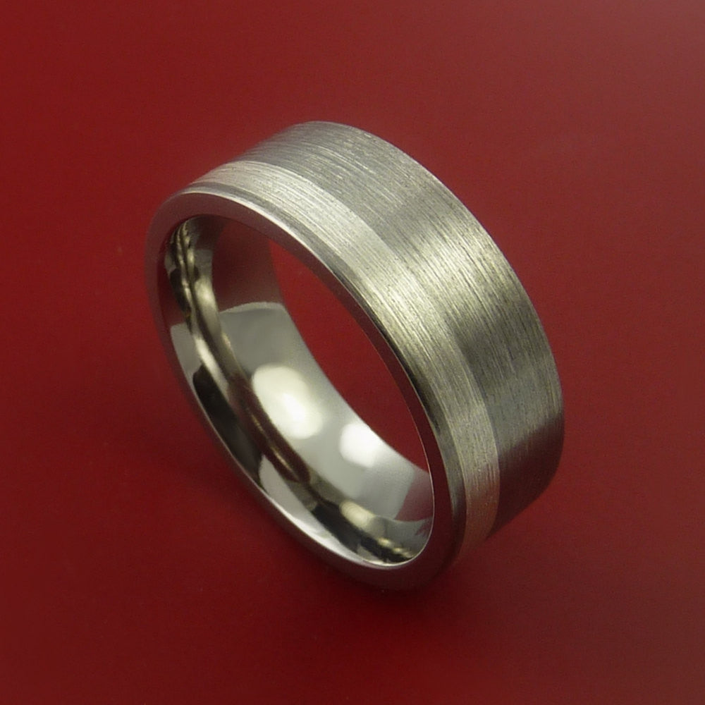 Titanium Ring Classic Silver Off Center Inlay Wedding Band Any Size and Finish 3-22 - Stonebrook Jewelry  - 1