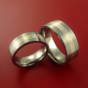Matching Mokume and Palladium in Titanium Rings Wedding Band Set Sizes 3-22