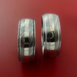 Matching Palladium and Silver Mokume Rings Custom Made Bands to Any Size 3 to 22