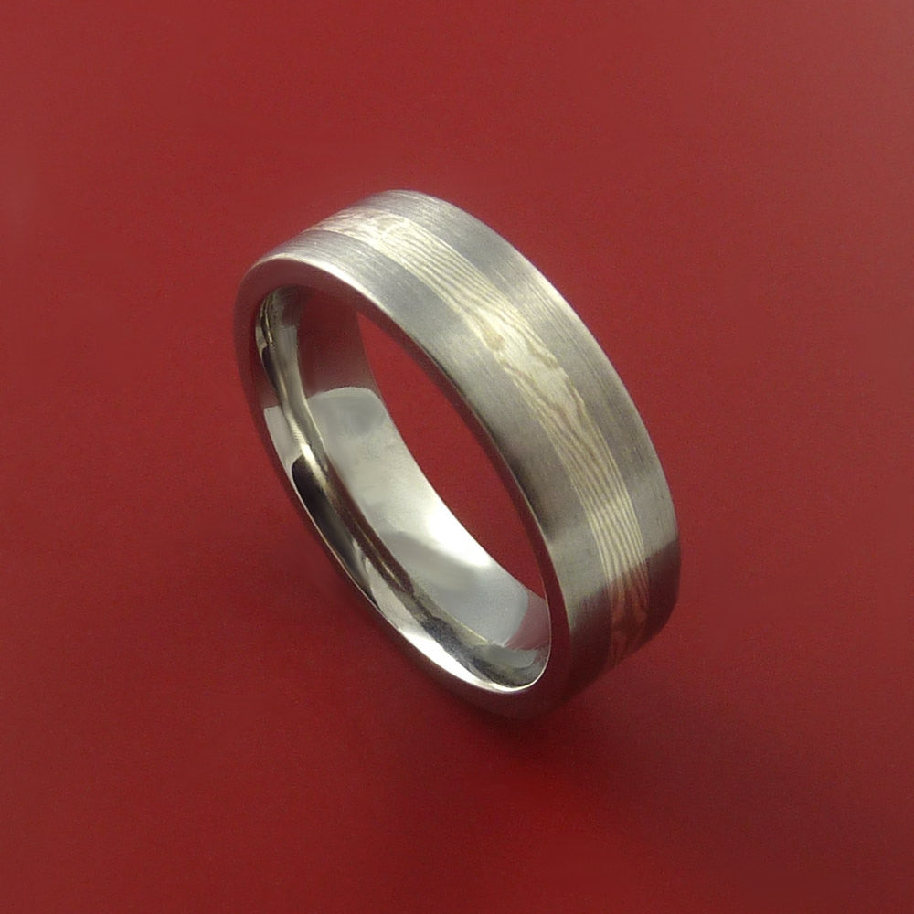 Titanium, Silver and Mokume Ring Custom Made to Any Size 3 to 22 - Stonebrook Jewelry  - 1