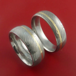 Matching Set 14k Yellow Gold Damascus Steel Rings Wedding Bands