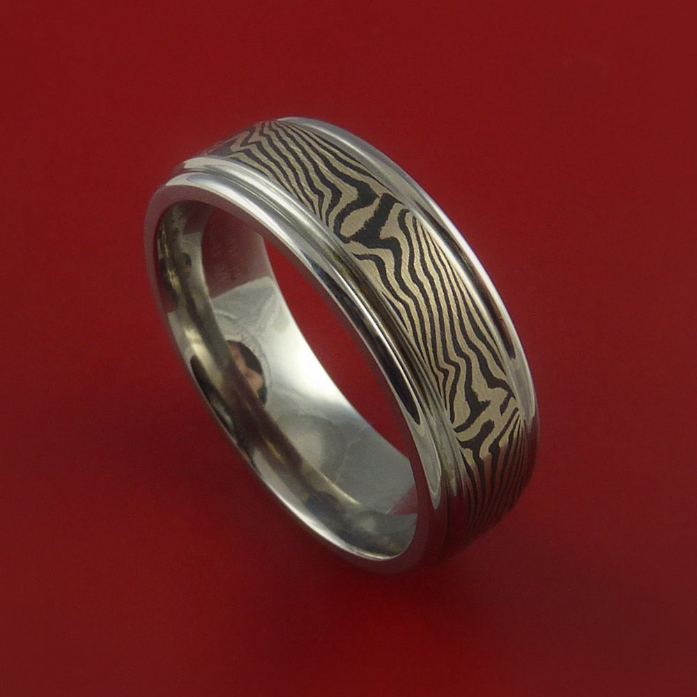 Titanium and 14K GOLD Mokume Ring Custom Made to Any Size 3 to 22
