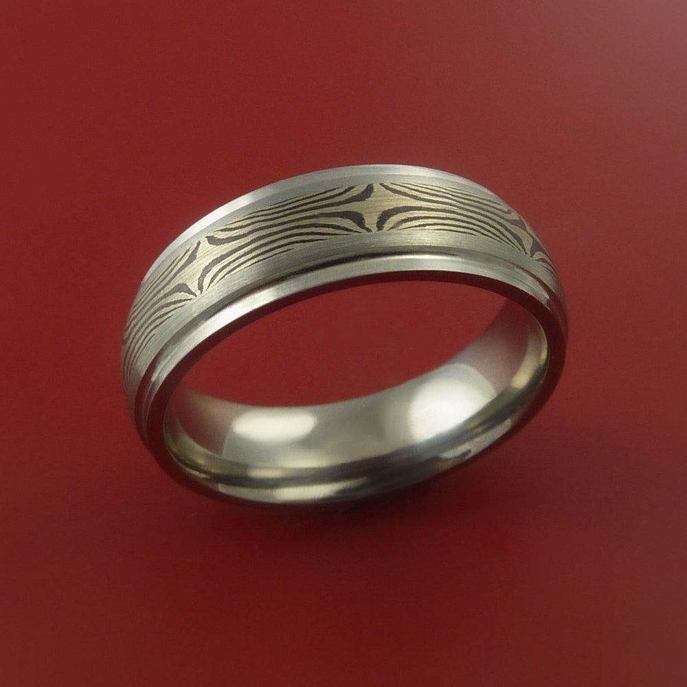 Titanium and 14K White Gold Mokume Ring Custom Made to Any Size 3 to 22