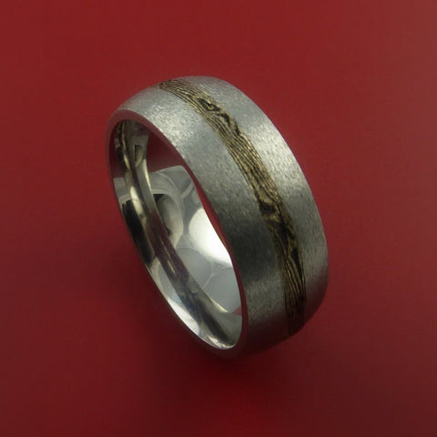 Titanium and 14K Yellow Gold Mokume Ring Custom Made Band to Any Size 3 to 22