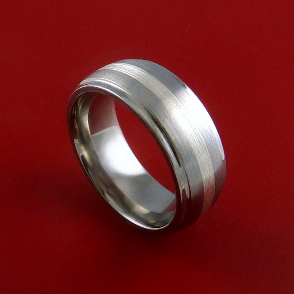 Titanium Ring Classic Style with Silver Inlay Wedding Band Any Size and Finish 3-22 by Stonebrook Jewelry