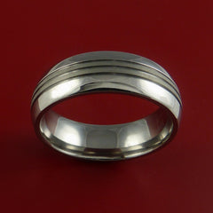 Titanium Wedding Band Two Tone Ring Made to Any Sizing and Finish 3-22 by Stonebrook Jewelry