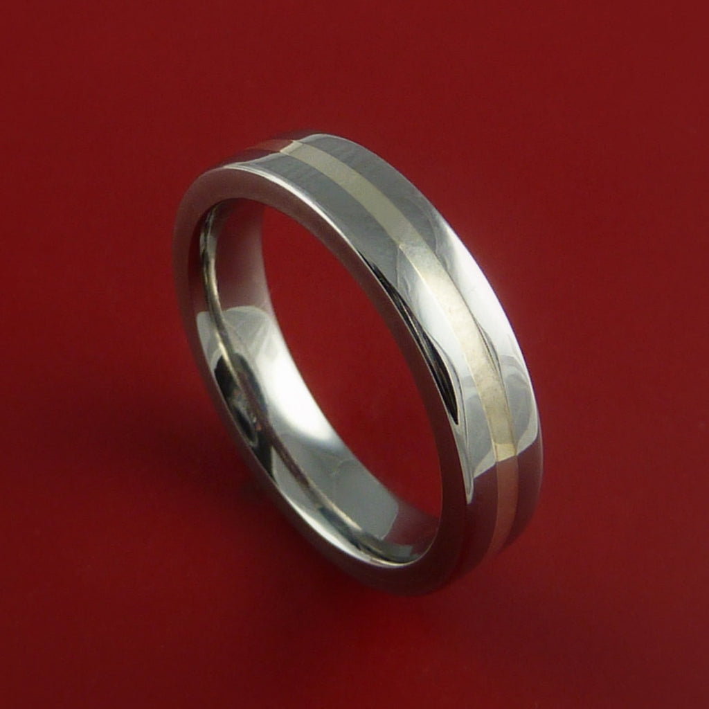 Titanium Ring with Silver Inlay Wedding Band Any Size and Finish 3-22 - Stonebrook Jewelry  - 1