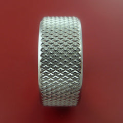 Titanium Wide Ring Textured Knurl Pattern Band Made to Any Sizing and Finish 3-22 - Stonebrook Jewelry  - 4