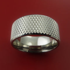 Titanium Wide Ring Textured Knurl Pattern Band Made to Any Sizing and Finish 3-22 - Stonebrook Jewelry  - 3