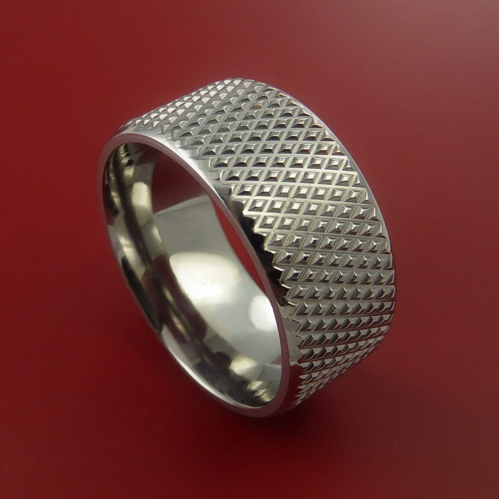 Wide Titanium Ring with Textured Knurl Pattern Inlay Custom Made Band