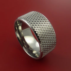 Titanium Wide Ring Textured Knurl Pattern Band Made to Any Sizing and Finish 3-22 - Stonebrook Jewelry  - 1