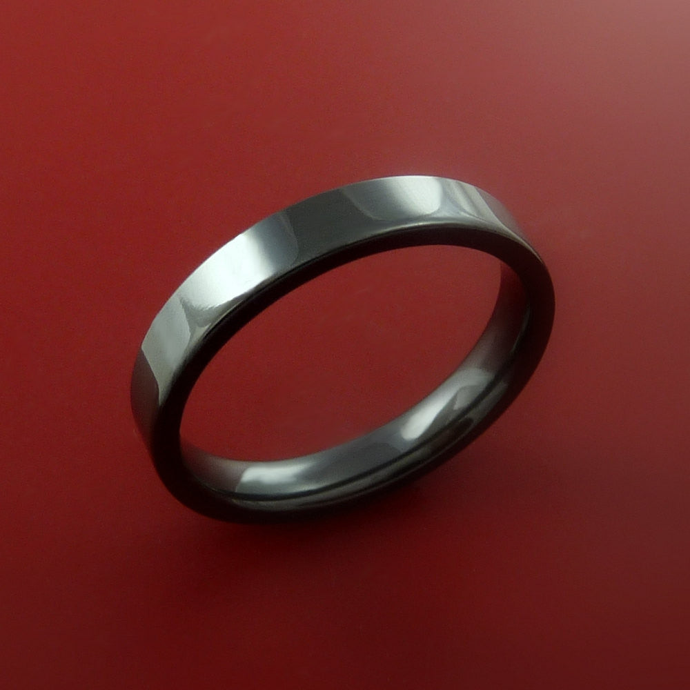 Black Zirconium Ring Traditional Style Band Made to Any Sizing and Finish 3-22 by Stonebrook Jewelry