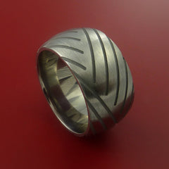 Titanium Wide Tread Design Ring Bold Unique Band Custom Made to Any Sizing 4-22 by Stonebrook Jewelry