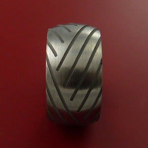 Titanium Wide Tread Design Ring Bold Unique Band Custom Made to Any Sizing 4-22