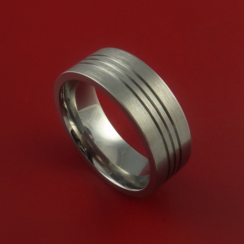 Titanium Wedding Band Engagement Rings Modern Made to Any Sizing and Finish 3-22 by Stonebrook Jewelry