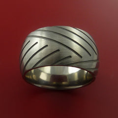 Titanium Wide Tread Design Ring Bold Unique Band Custom Made to Any Sizing 4-22 - Stonebrook Jewelry  - 4