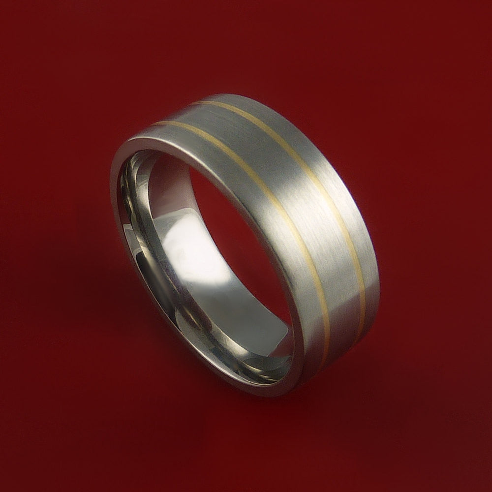 14K Yellow Gold Titanium Ring Custom Made Wedding Band Any Size and Finish 3-22 by Stonebrook Jewelry