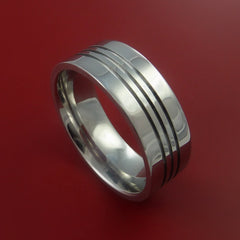 Titanium Wedding Band Engagement Ring Modern Made to Any Sizing and Finish 3-22 by Stonebrook Jewelry