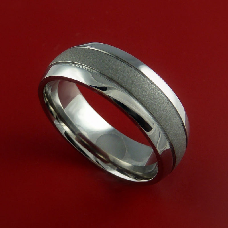Titanium Ring with Groove Inlay Custom Made Band