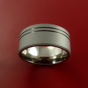 Wide Titanium Ring with Groove Inlay Custom Made Band