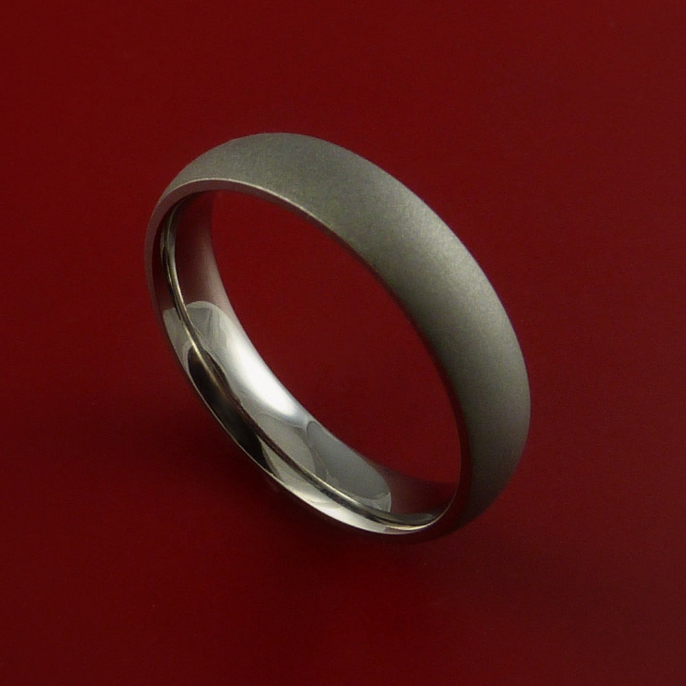 Titanium Narrow Ring Unique Finish Band Made to Any Size 3-22 by Stonebrook Jewelry