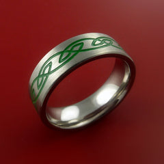 Titanium Celtic Band Infinity Design Ring Any Size 3 to 22 Green, Red. Blue Inlay - Stonebrook Jewelry  - 2