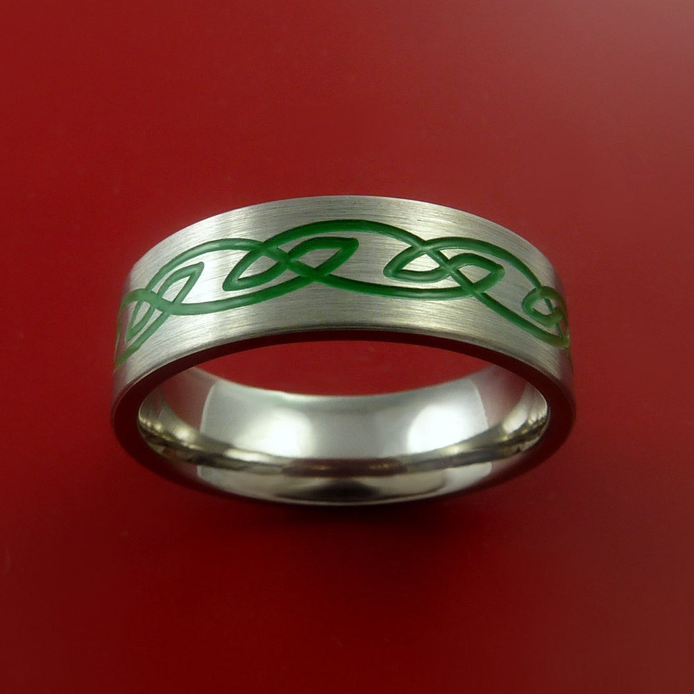 Titanium Celtic Band Infinity Design Ring Any Size 3 to 22 Green, Red. Blue Inlay - Stonebrook Jewelry  - 3
