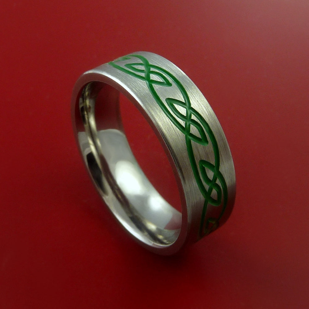 Titanium Celtic Band Infinity Design Ring Any Size 3 to 22 Green, Red. Blue Inlay