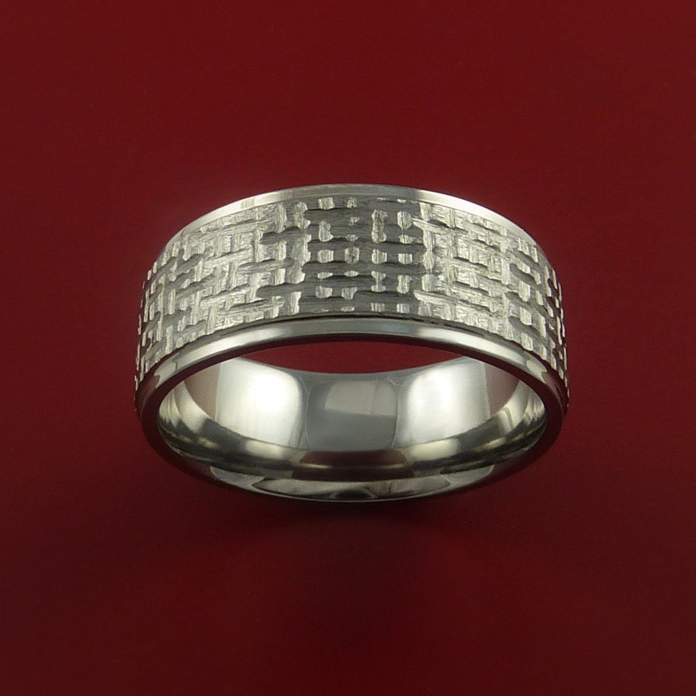 Titanium Ring Basket Weave Textured Band Made to Any Sizing and Finish 3-22 by Stonebrook Jewelry