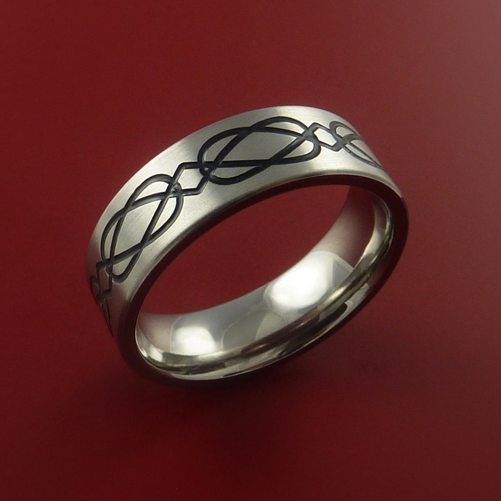 Titanium Celtic Band Infinity Design Ring Any Size 3 to 22 Any Color - Stonebrook Jewelry  - 4