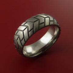 Titanium Carved Tread Design Ring Bold Unique Band Custom Made to Any Size - Stonebrook Jewelry  - 2