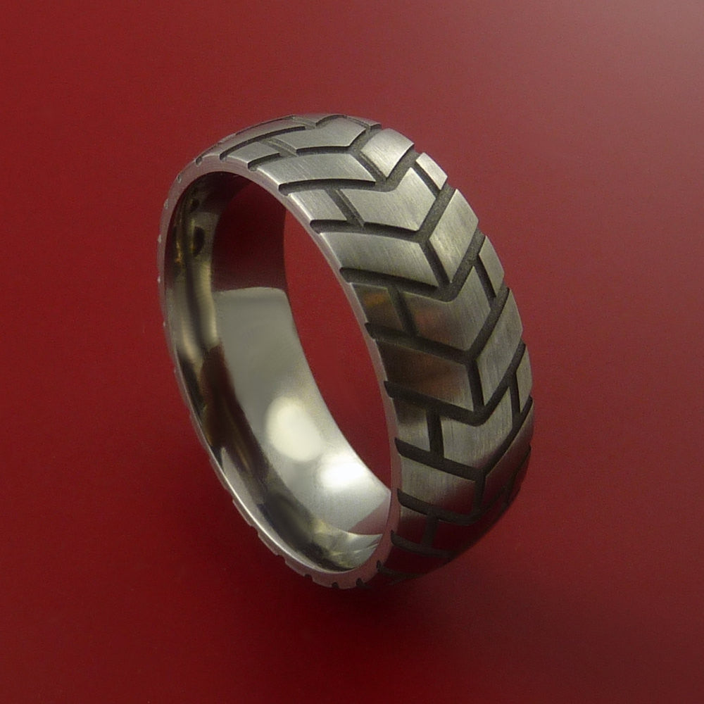 Titanium Carved Tread Design Ring Bold Unique Band Custom Made to Any Size by Stonebrook Jewelry