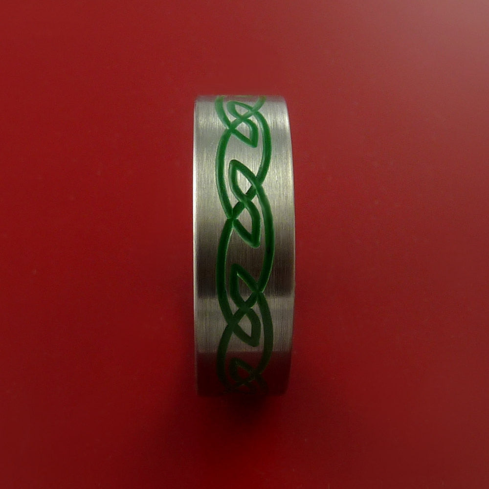 Titanium Celtic Band Infinity Design Ring Any Size 3 to 22 Green, Red. Blue Inlay - Stonebrook Jewelry  - 4