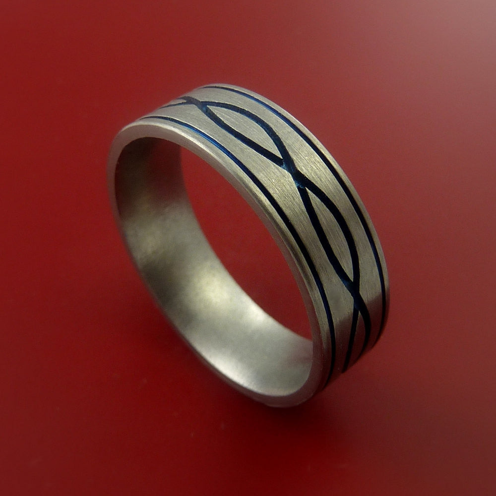 Titanium Celtic Knot Band Design Any Size Ring 3 to 22 Any Color by Stonebrook Jewelry