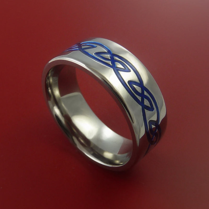 Titanium Ring with Infinity Knot Milled Celtic Design and Cerakote Inlays Custom Made Band