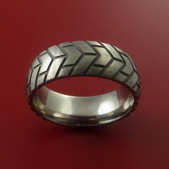 Titanium Carved Tread Design Ring Bold Unique Band Custom Made to Any Size - Stonebrook Jewelry  - 3