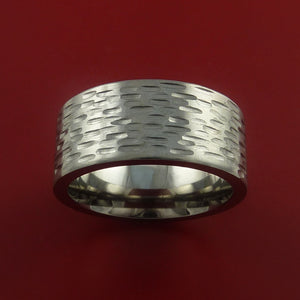 Titanium Wide Ring Textured Band Made to Any Sizing and Finish 3-22