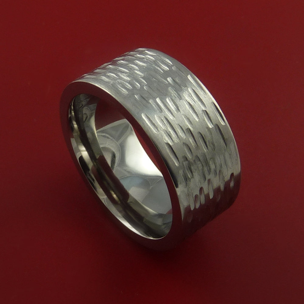 Titanium Wide Ring Textured Band Made to Any Sizing and Finish 3-22 - Stonebrook Jewelry  - 1