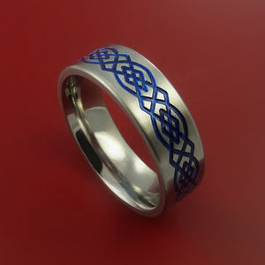 Titanium Ring with Infinity Milled Celtic Design and Cerakote Inlays Custom Made Band