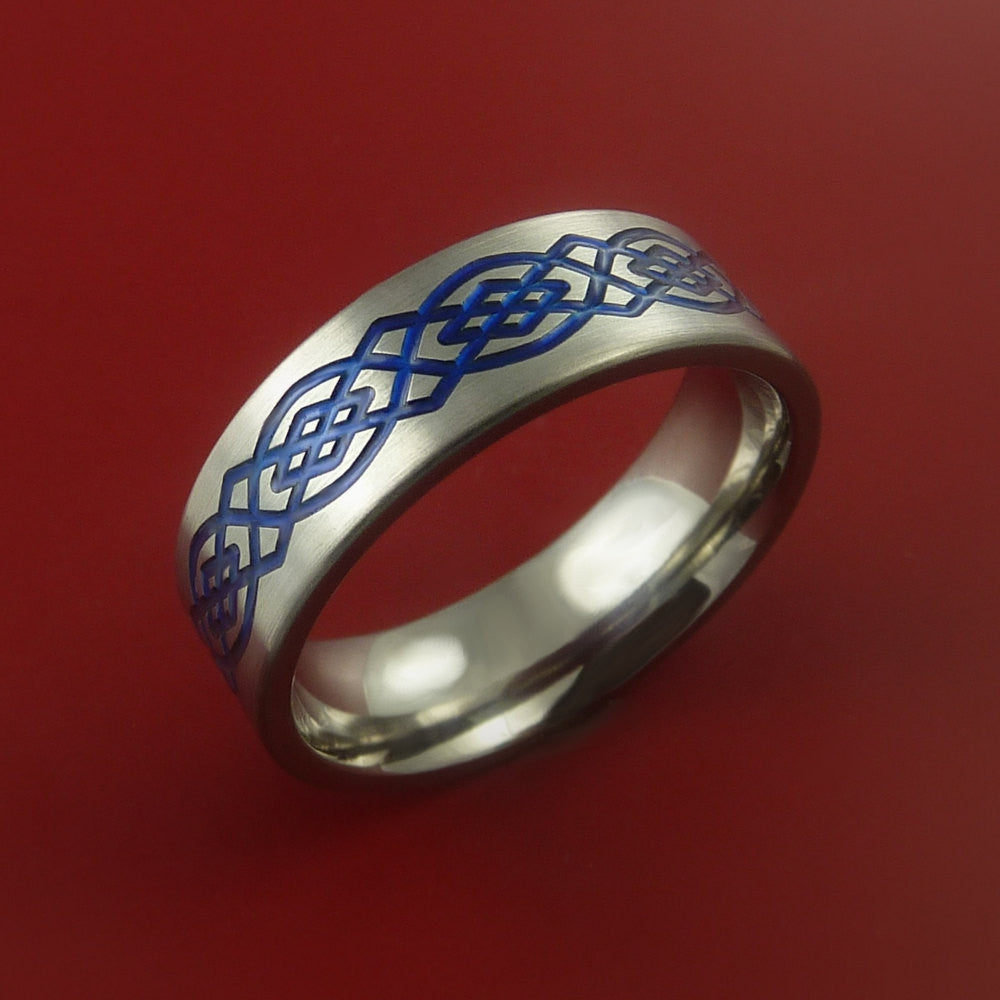 Titanium Celtic Band Infinity Design Ring Any Size 3 to 22 Any Color by Stonebrook Jewelry